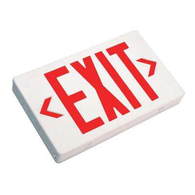 EXL1 Series 1.2-Volt White Integrated LED Emergency Exit Sign with Red Lettering