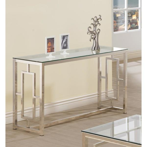 Coaster Cairns Sofa Table With Glass Top And Geometric