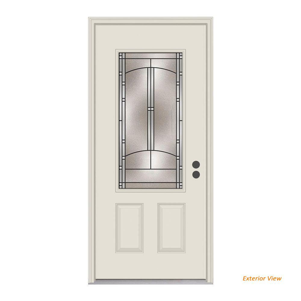 JELD-WEN 36 in. x 80 in. 3/4 Lite Idlewild Primed Steel Prehung Left-Hand Inswing Front Door w/Brickmould