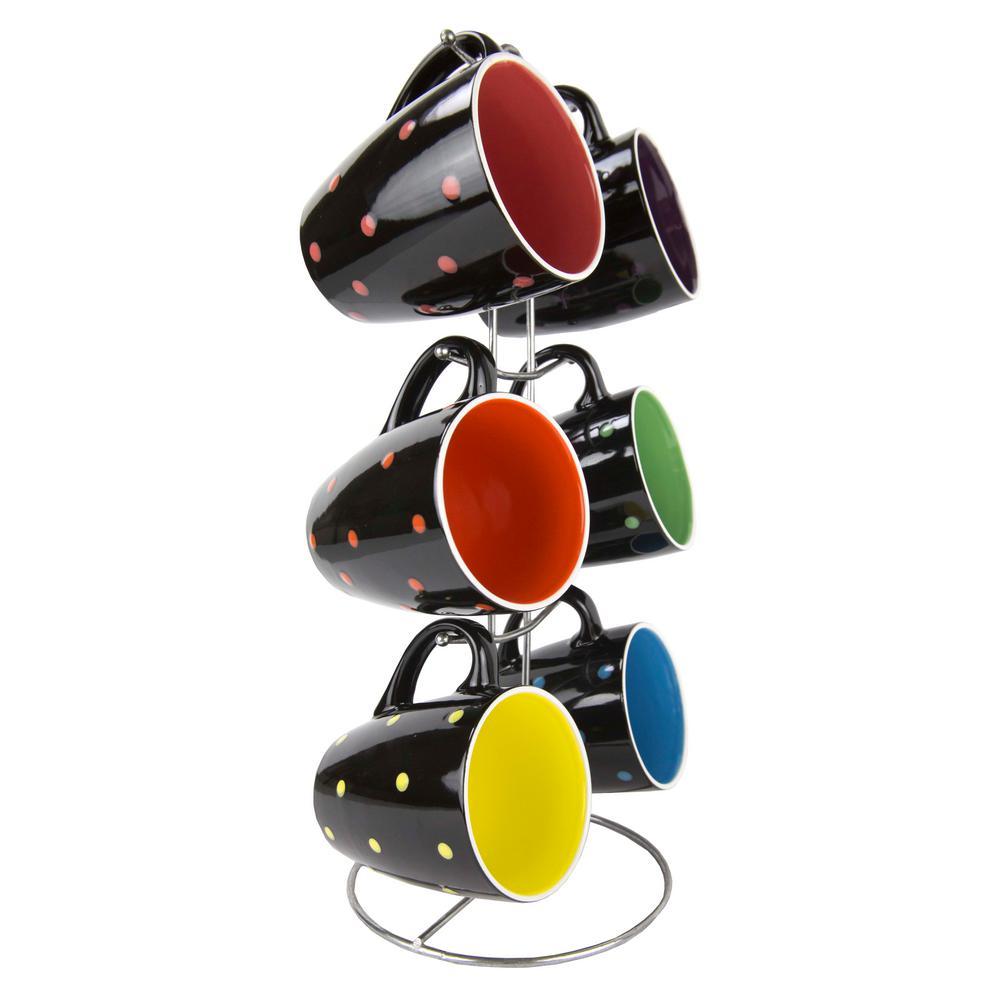 Polka Dot 6-Piece Mug Set Black Mug Set