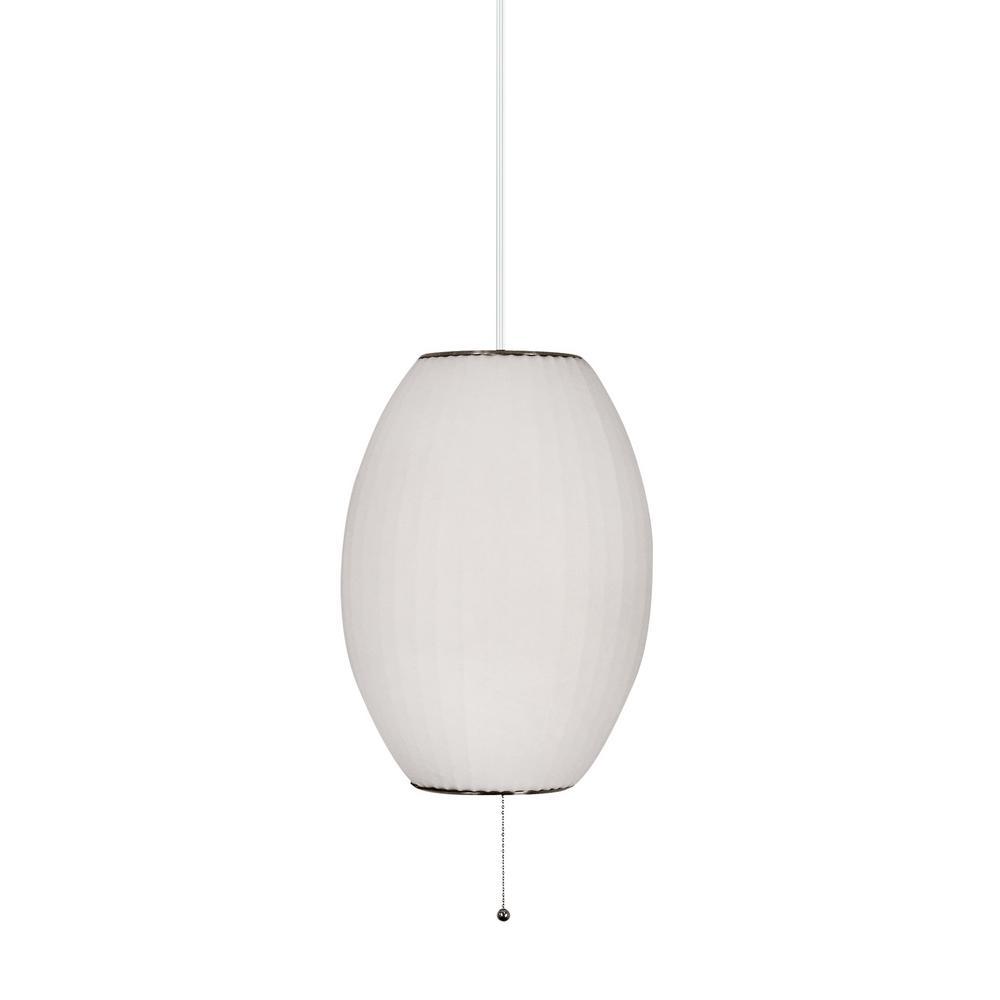 Titan Lighting Cigar 1-Light Satin Nickel and White Pendant