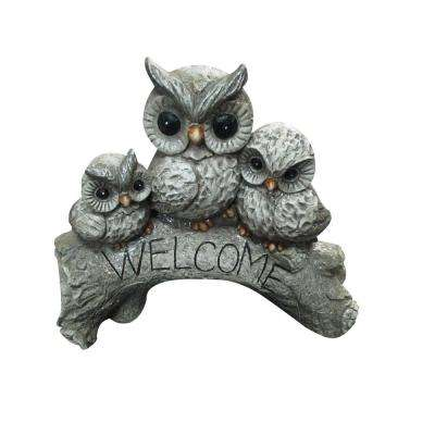 Owl Family Welcome Statue