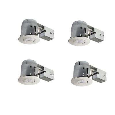 4 in. Brushed Nickel LED IC Rated Swivel Spotlight Trim Recessed Lighting Kit Dimmable Downlight (4-Pack)