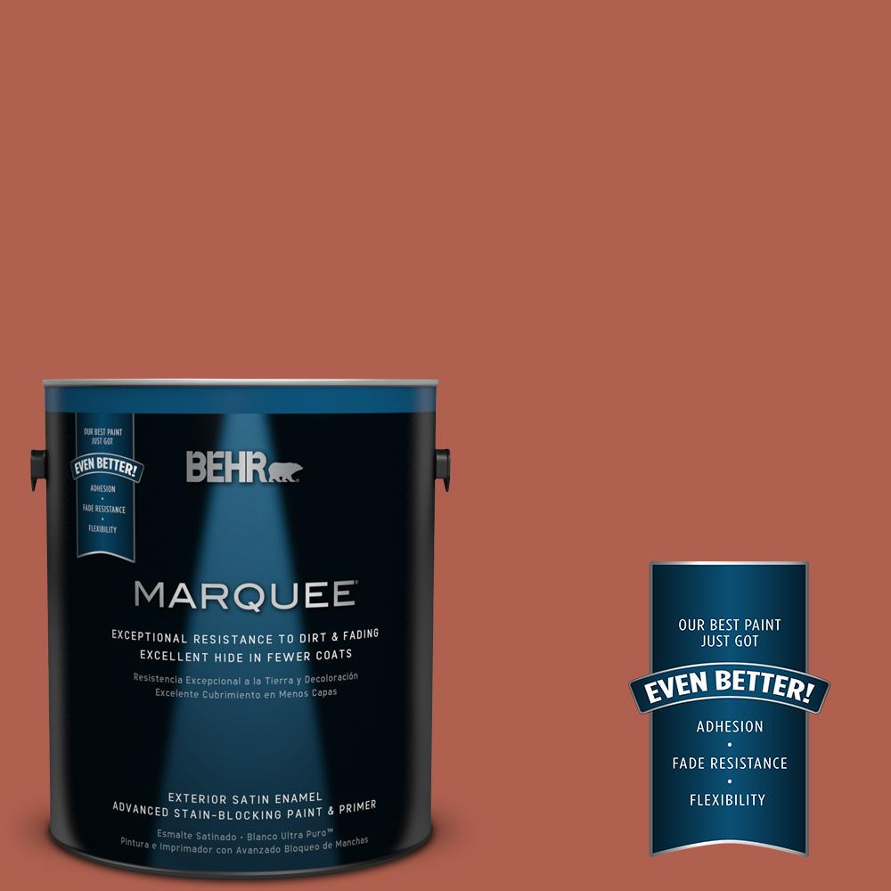 BEHR MARQUEE 1-gal. #BIC-46 Clay Red Satin Enamel Exterior Paint