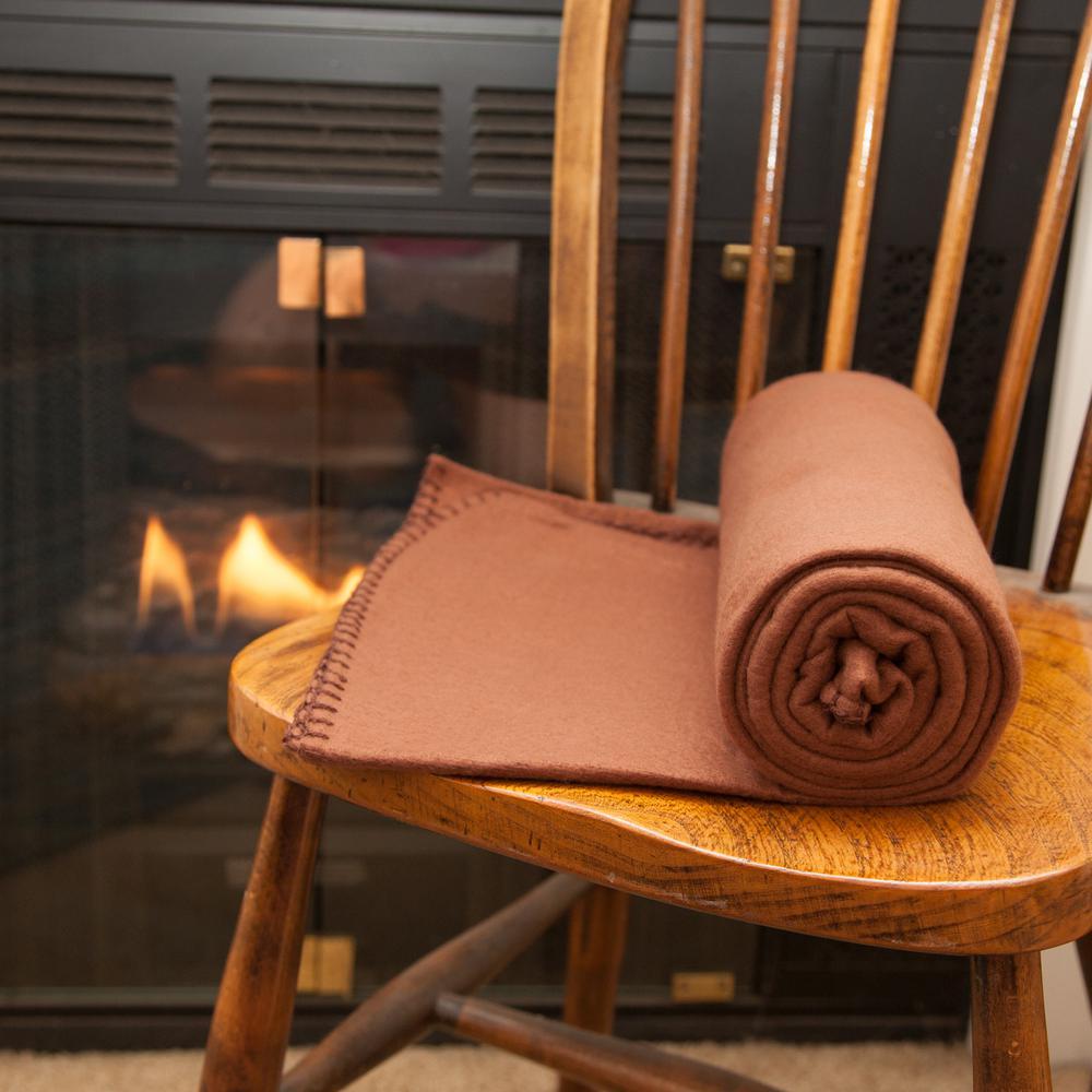 50 in. x 60 in. Brown Super Soft Fleece Throw Blanket (Set of 12)