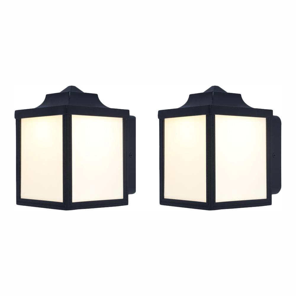 Hampton Bay Black Outdoor Integrated LED Wall Lantern Sconce (2-Pack)