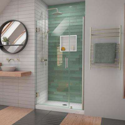 Unidoor-LS 40-41 in. W x 72 in. H Frameless Hinged Shower Door in Brushed Nickel