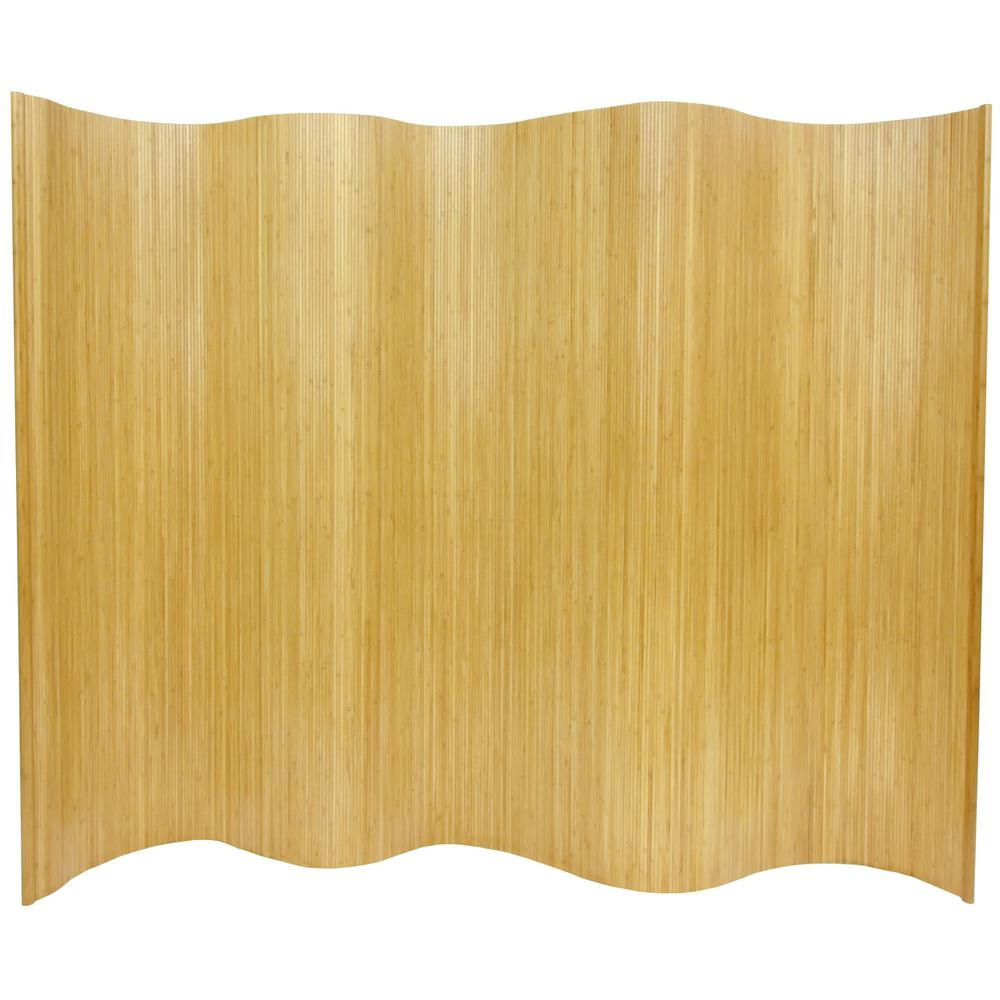 Oriental Furniture 6 ft Honey Bamboo Wave 1 Panel Room Divider BF