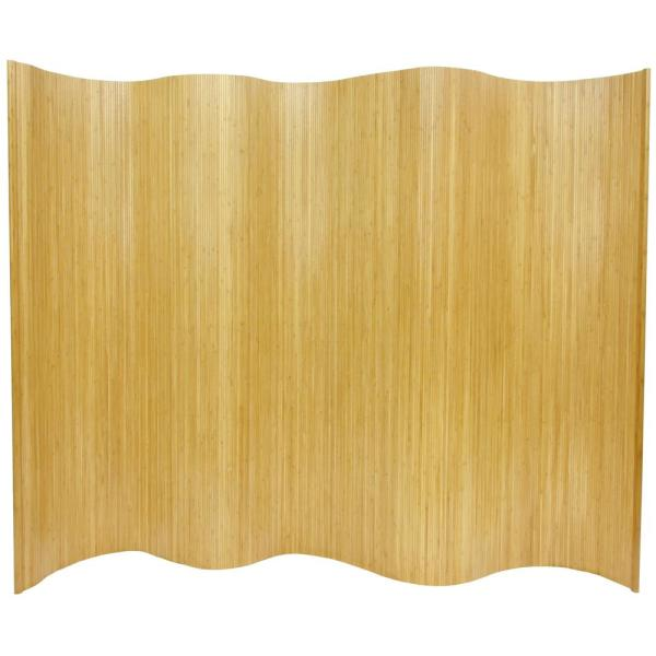 6 ft. Honey Bamboo Wave 1-Panel Room Divider