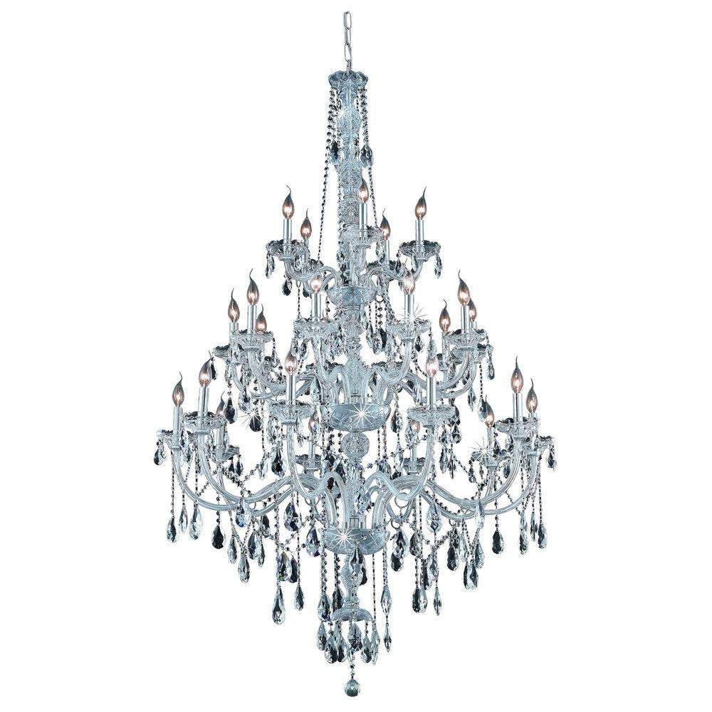 Elegant Lighting 25 Light Chrome Chandelier With Clear Crystal