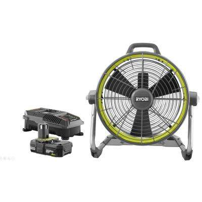 18-Volt ONE+ Hybrid 18 in. Air Cannon Drum Fan with 18-Volt ONE+ Lithium-Ion 2.0 Ah Battery and IntelliPort Charger Kit