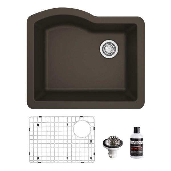 QU-671 Quartz/Granite Composite 24 in. Single Bowl Undermount Kitchen Sink with Grid and Basket Strainer in Brown