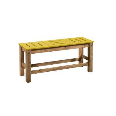 Stillwell 37.8 in. Yellow and Natural Wood Bench (Set of 2)