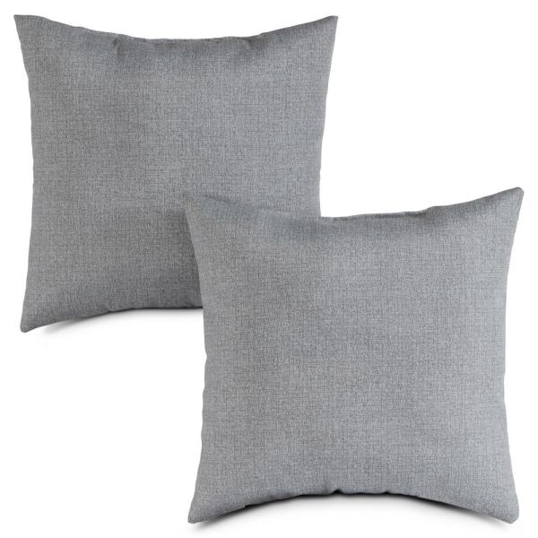 Heather Gray Square Outdoor Throw Pillow (2-Pack)
