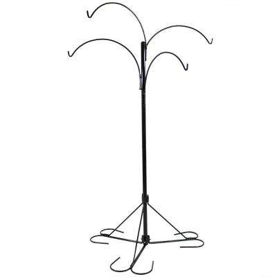 84 in. 4-Arm Metal Hanging Basket Stand with Adjustable Arms