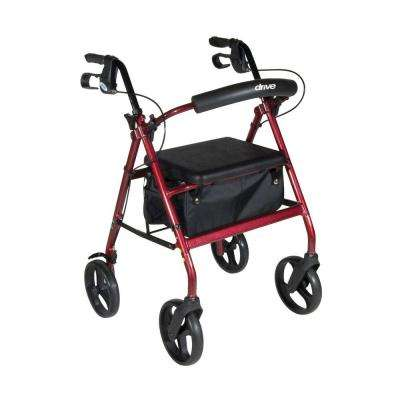 Aluminum Rollator with Removable Wheels in Red