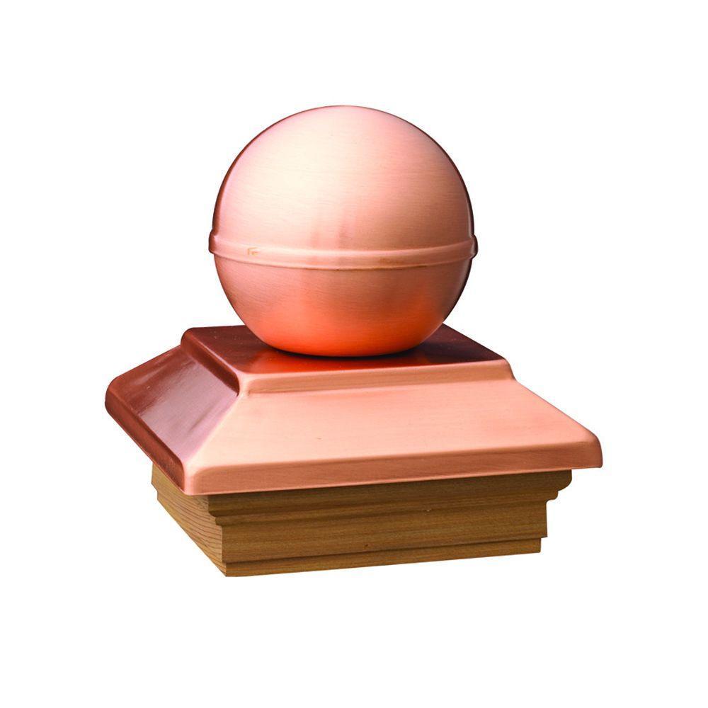 Pressure-Treated 4 in. x 4 in. Pine Copper Ball Top Post Cap