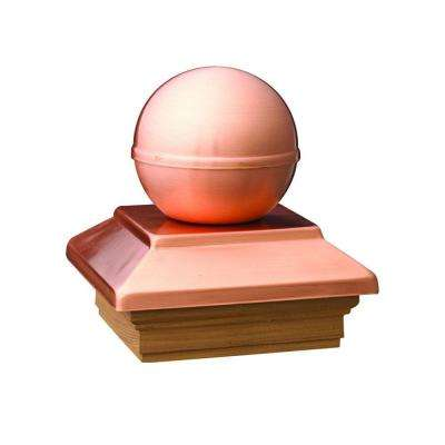 Pressure-Treated 4 in. x 4 in. Pine Copper Ball Top Post Cap