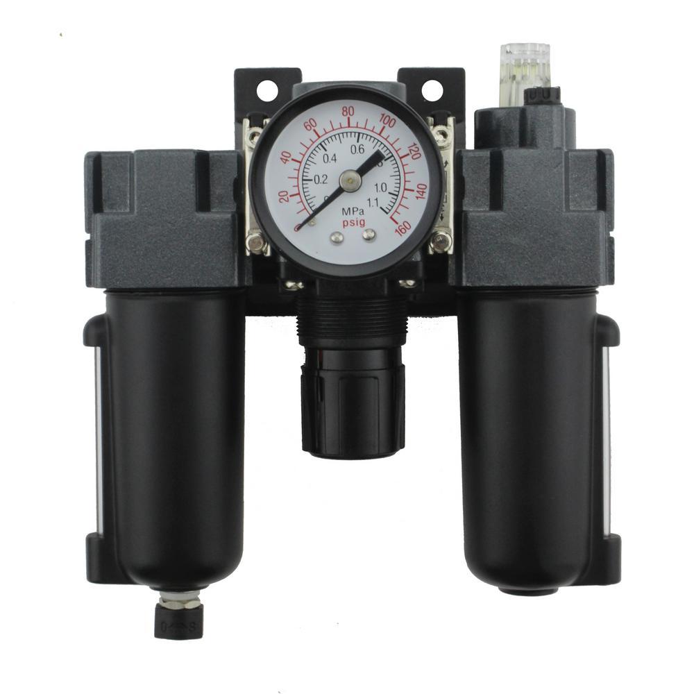 1/4 in. NPT Mini Metal FRL Air Filter Regulator and Lubricator System