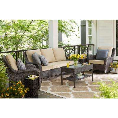 Cambridge Gray Wicker Outdoor Patio Swivel Rocking Chair with Bare Cushions (2-Pack)