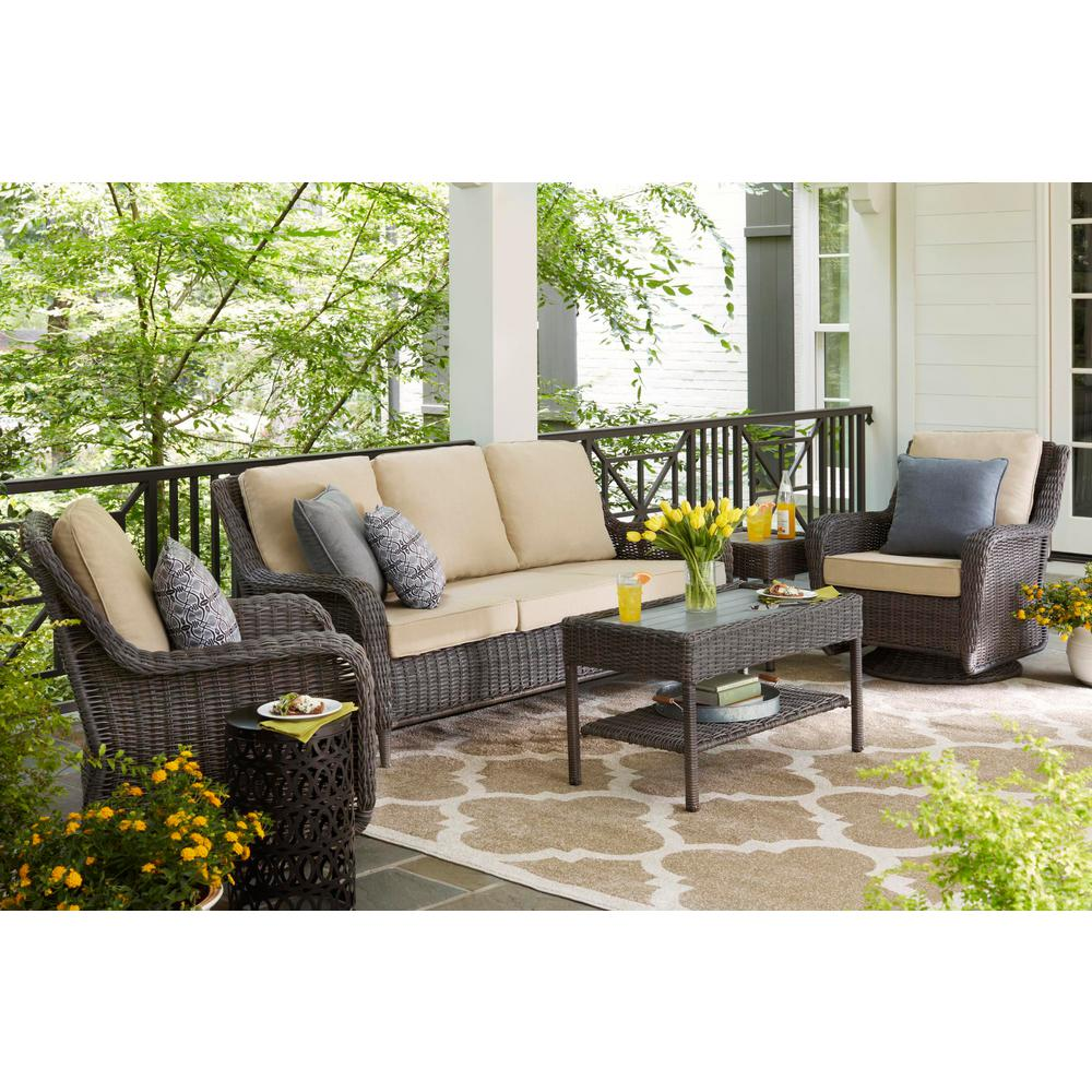 Admirable Hampton Bay Cambridge Gray Wicker Outdoor Patio Swivel Rocking Chair With Bare Cushions Cjindustries Chair Design For Home Cjindustriesco