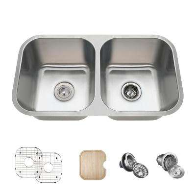 All-in-One Undermount Stainless Steel 32 in. Double Bowl Kitchen Sink in 16-Gauge