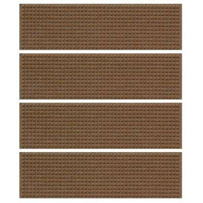 Dark Brown 8.5 in. x 30 in. Squares Stair Tread Cover (Set of 4)