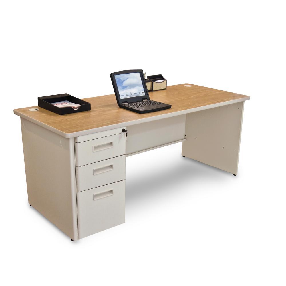 72 in. W x 30 in. D Oak Laminate and Putty  Single Full Pedestal Desk