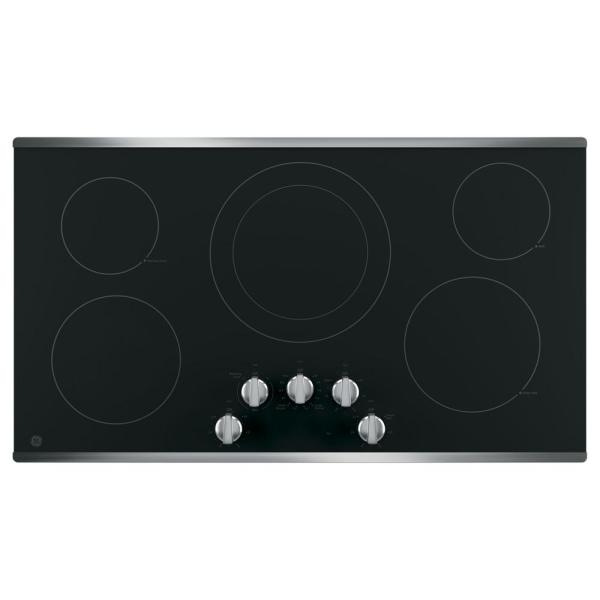 GE 36 in. Electric Cooktop Built-in Knob Control in Stainless Steel with 5 Elements