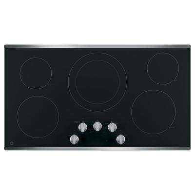 36 in. Electric Cooktop Built-in Knob Control in Stainless Steel with 5 Elements