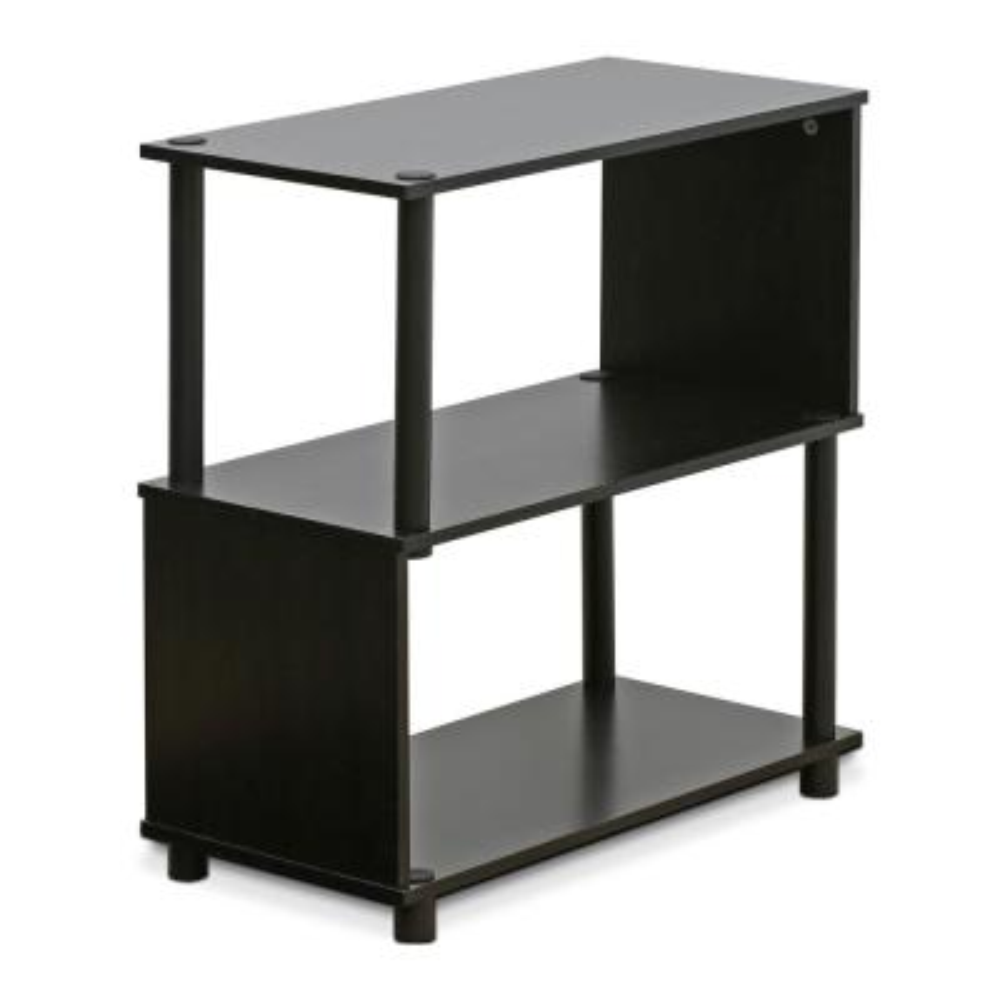 25.44 in. Espresso Plastic 3-shelf Etagere Bookcase with Open Back