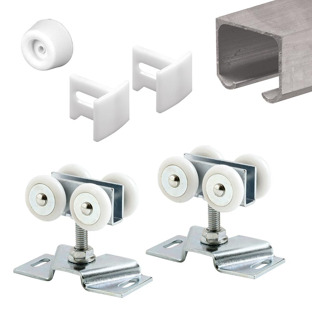 Prime Line 72 In Extruded Aluminum Pocket Door Kit Wtrack Rollers