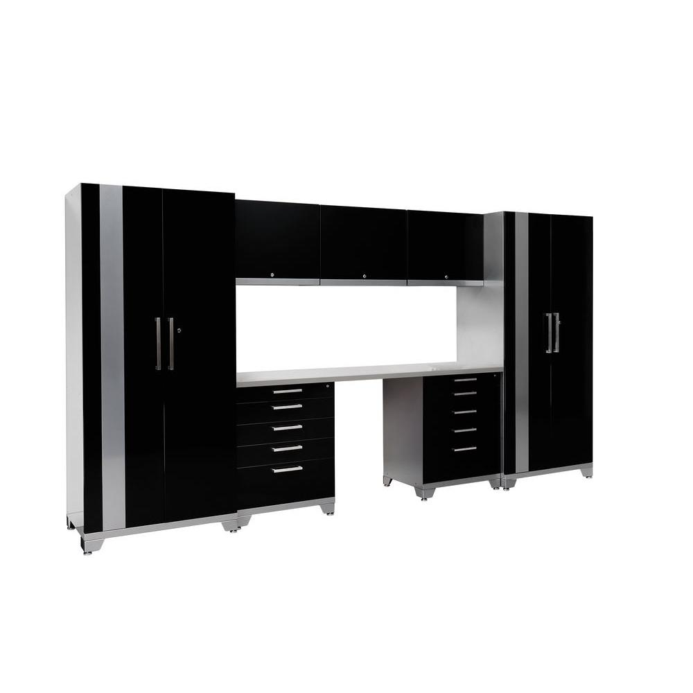 NewAge Products Performance Plus 83 in. H x 156 in. W x 24 in. D Steel Garage Cabinet Set in Black (8-Piece)