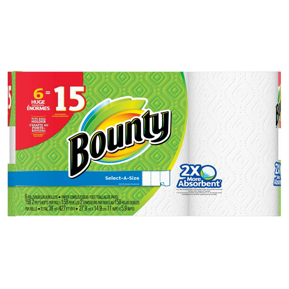 Bounty Select-A-Size White Paper Towels (6 Huge Rolls)