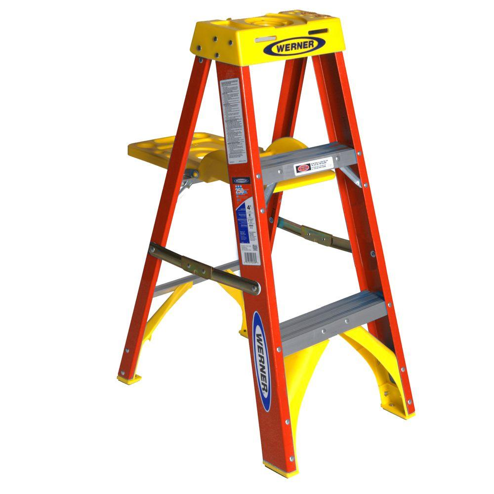 Werner 3 ft. Fiberglass Step Ladder with Shelf 300 lb. Load Capacity Type IA Duty Rating