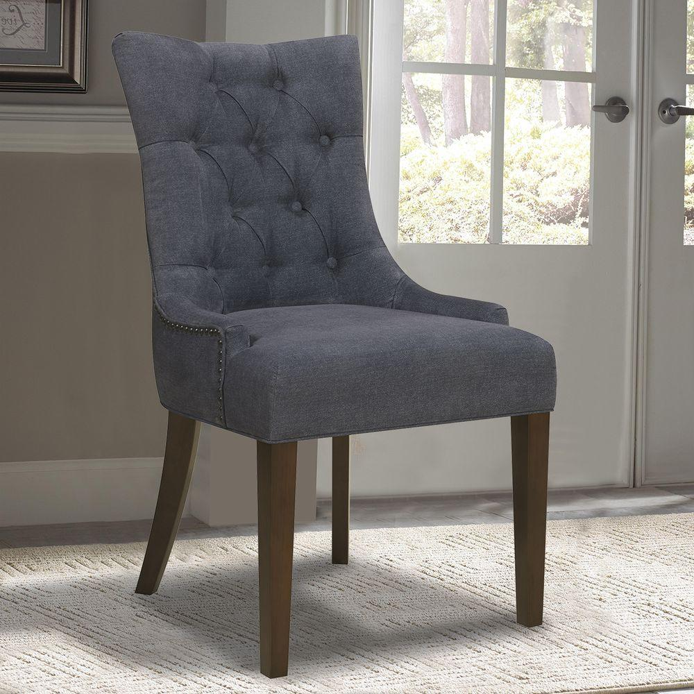 Denim dining chair dark wash fabric hardwood wood tapered legs tufted blue seat