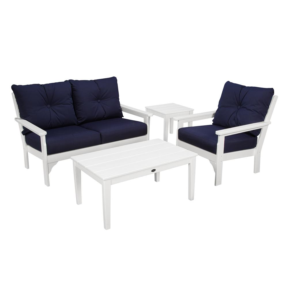 Polywood Vineyard White 4 Piece Plastic Patio Deep Seating Set With Sunbrella Navy Cushions