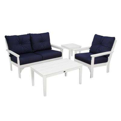 Vineyard White 4-Piece Plastic Patio Deep Seating Set with Sunbrella Navy Cushions