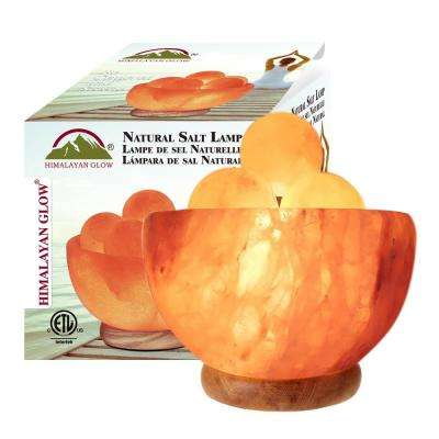 Himalayan Glow Natural Pink Salt Bowl with 5 Round massage Ball (8-10 lbs)