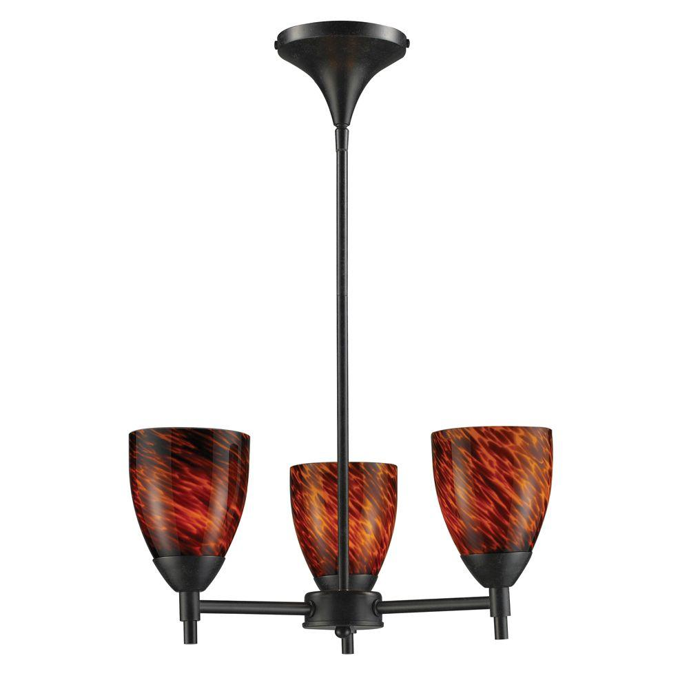 Titan Lighting 3-Light Ceiling Mount Dark Rust Chandelier