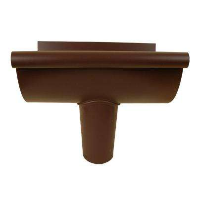 5 in. Royal Brown Aluminum Half-Round End Piece with Outlet