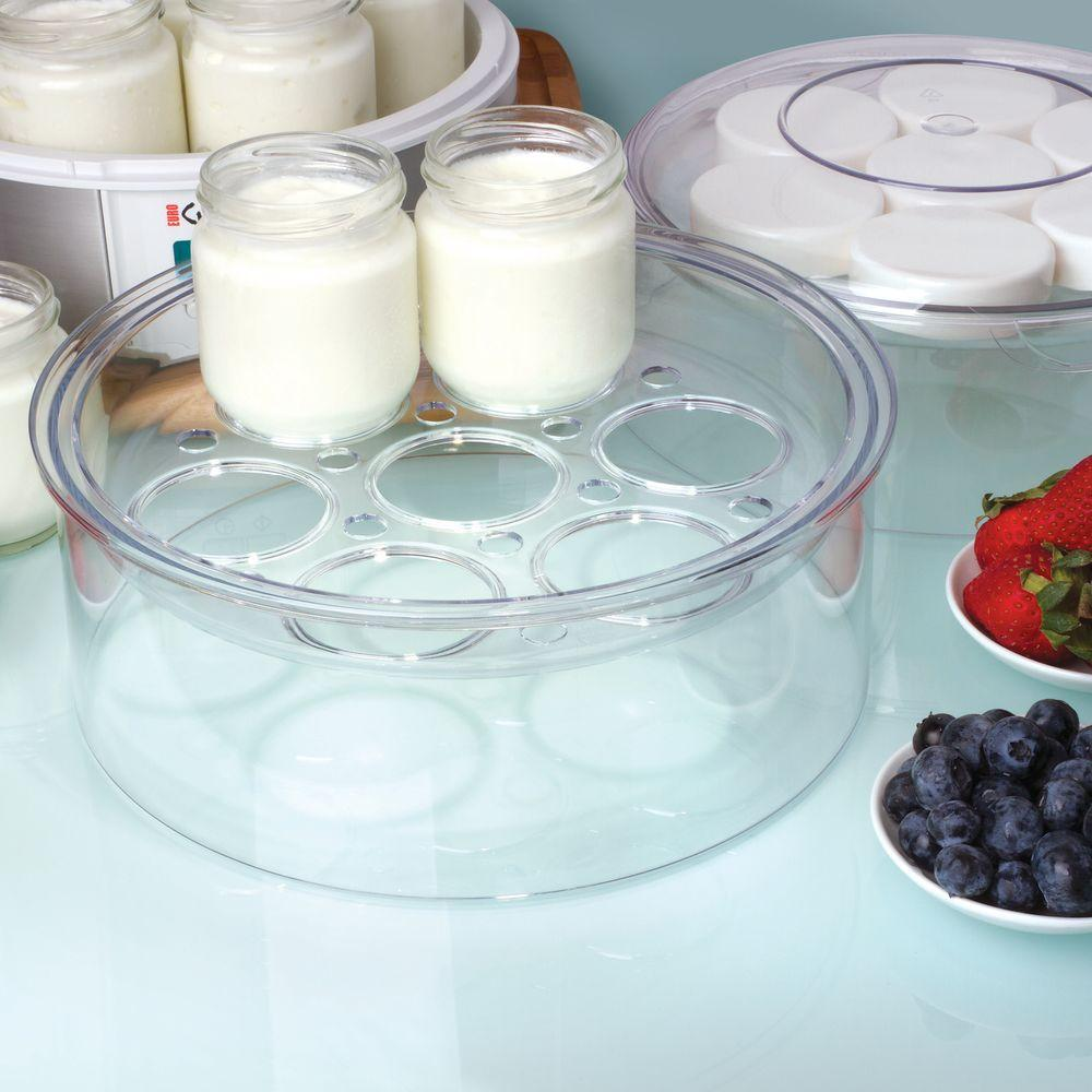 Euro Cuisine Yogurt Maker Top Tier, Clear Euro Cuisine has devised a way for you to add 7 additional glass jars to the already impressive 7 glass jars included with each yogurt maker (can be used with Euro Cuisine Yogurt Maker Model Number YM80, YM100, and YMX650). The possibilities become endless. You can make a batch of your favorite yogurt. Or, you can make several jars of multiple flavors. Please add only one tier per unit as the temperature varies too widely by adding more. Yogurt Makers, extra glass jars, and yogurt making accessories are sold separately. Color: Clear.