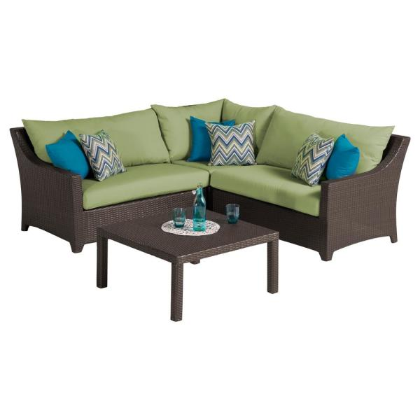 Deco 4-Piece Patio Sectional Seating Set with Gingko Green Cushions