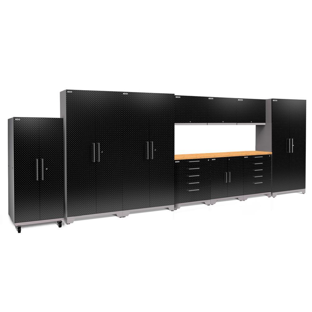 Performance Plus Diamond Plate 2.0 80 in. H x 220 in. W x 24 in. D Garage Cabinet Set in Black (11-Piece)