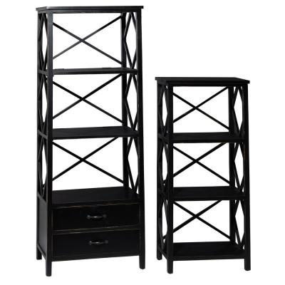 LITTON LANE 46 in. and 64 in. Black Rectangular 4-Tier Decorative Shelves with 2-Drawer Base (Set of 2)