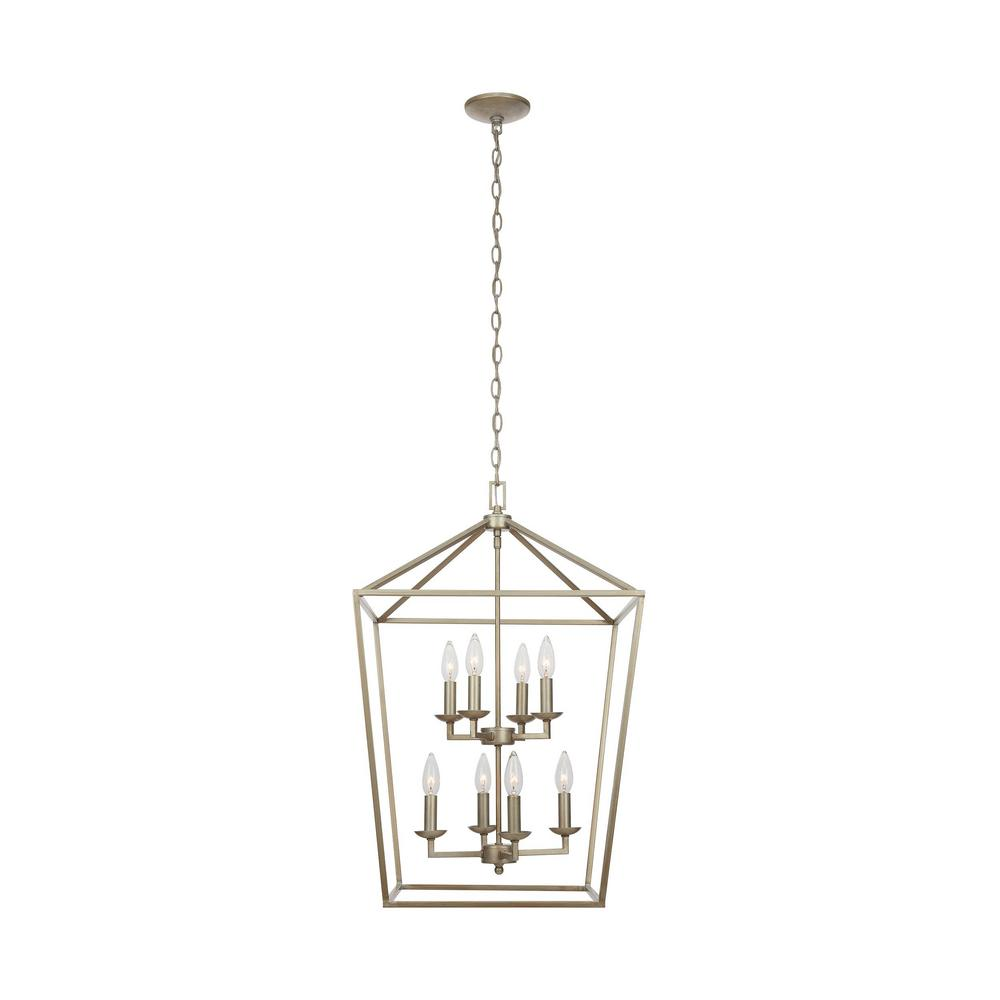 Home Decorators Collection Weyburn 8-Light Antique Silver Leaf Caged Chandelier