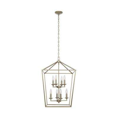 Weyburn 8-Light Antique Silver Leaf Caged Chandelier