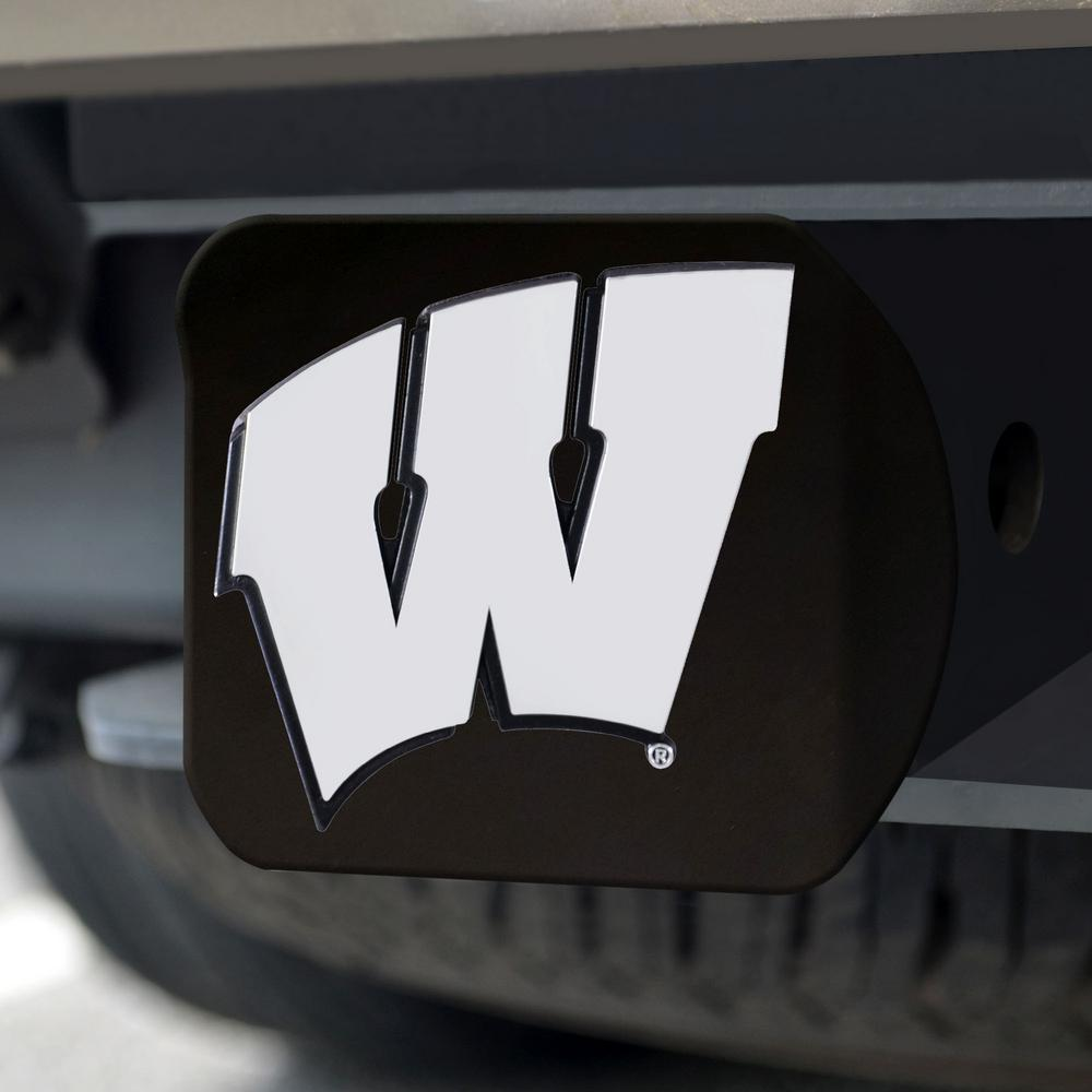 University of Wisconsin Black Metal Hitch Cover