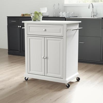 White Portable Kitchen Cart with Granite Top
