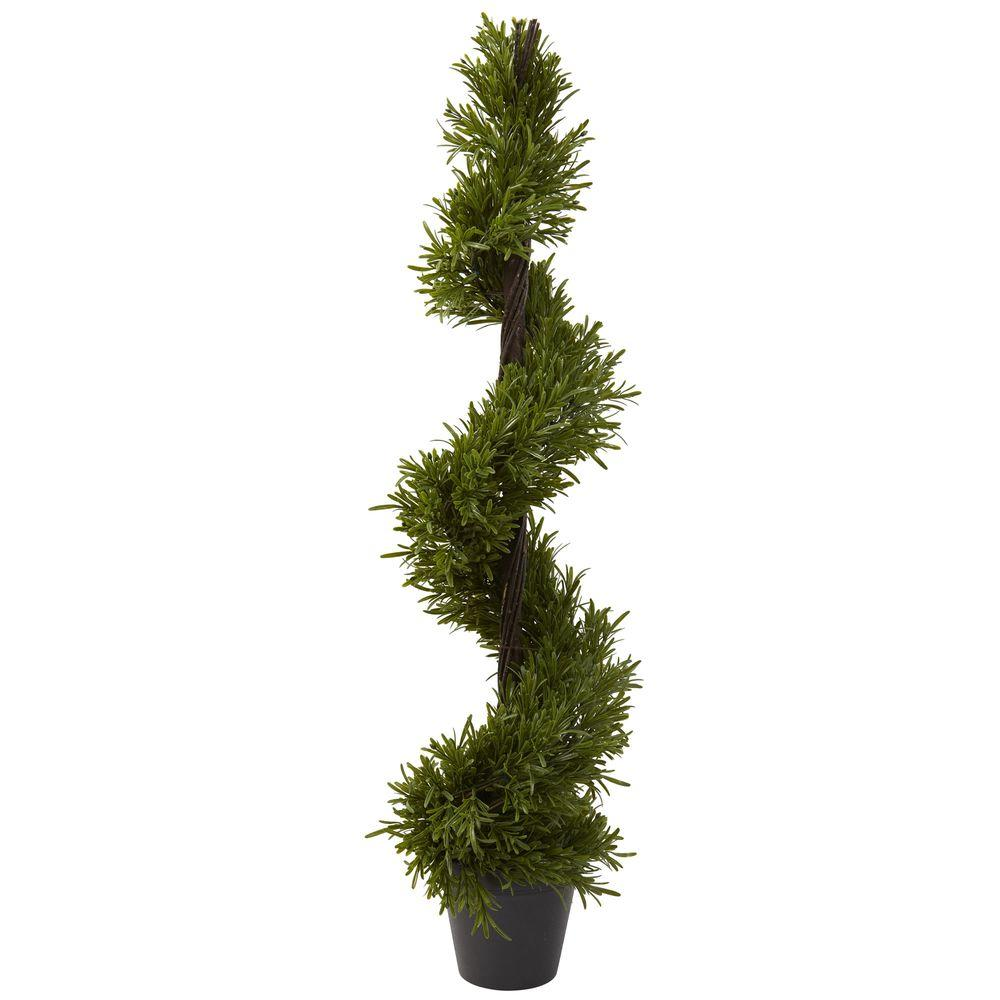 Nearly natural 39 in indoor outdoor rosemary spiral tree for Outside plants and shrubs
